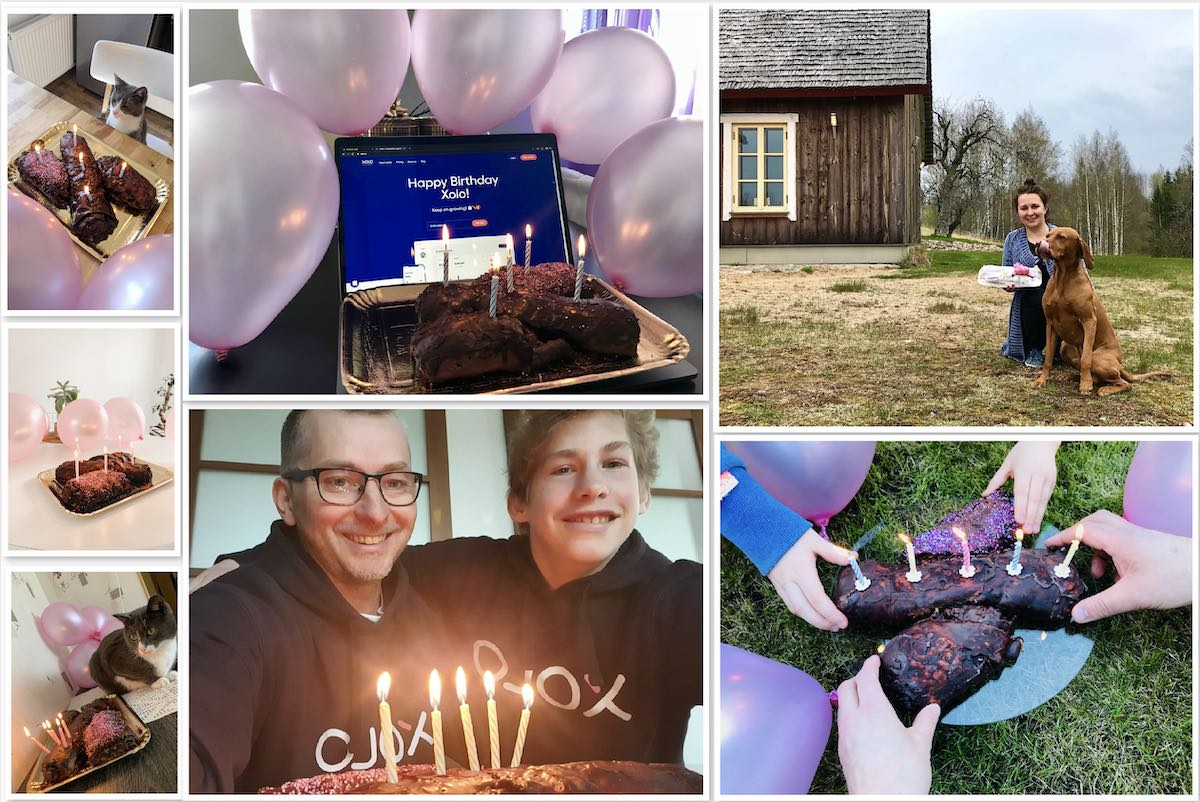 We celebrated Xolo's birthday remotely with every person receiving a pretzel and balloons