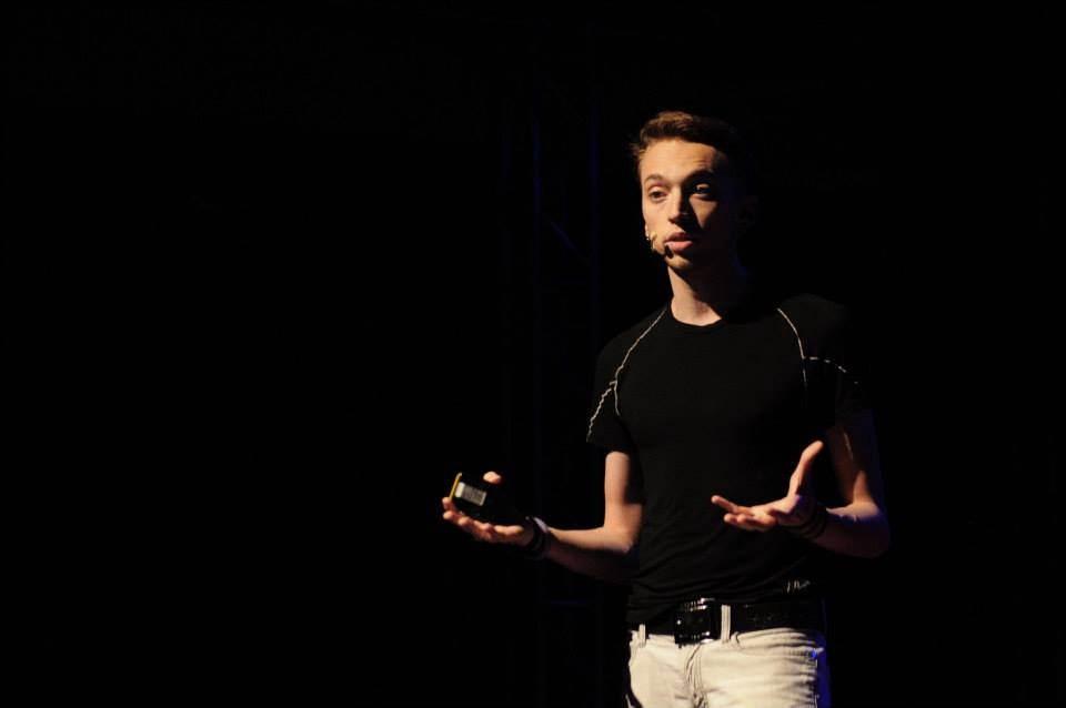 Federico giving a presentaion