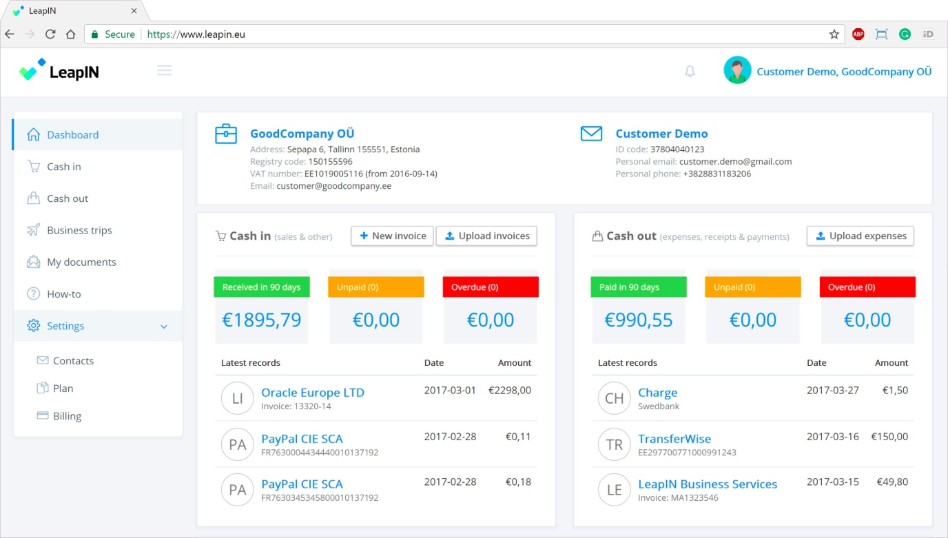 This is how LeapIN's self-service are looks. It gives you a quick overview of your business and you can upload your expenses or send out invoices, all from one simple platform.